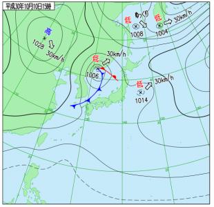 10月10日(水)15時の実況天気図