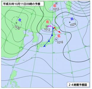 10月11日(木)9時の予想天気図