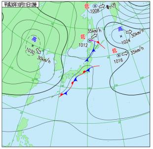 10月11日(木)15時の実況天気図