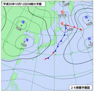 10月12日(金)9時の予想天気図