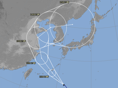 台風14号進路図(8月10日18時)