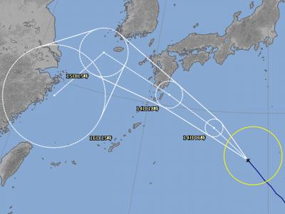 台風15号進路図(8月13日18時)
