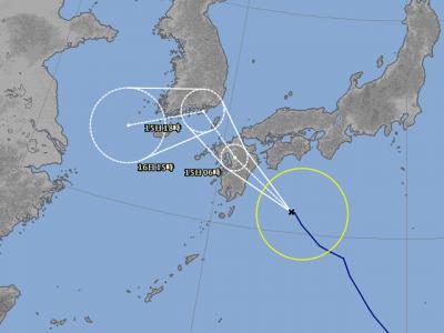 台風15号進路図(8月14日18時)