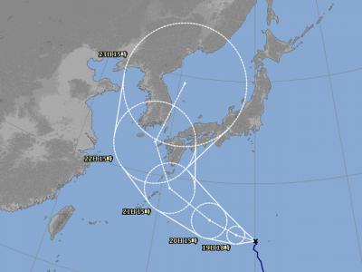 台風19号進路図(8月18日18時)