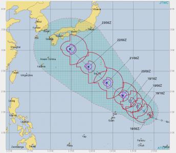 台風20号(仮)進路予想(8月18日)