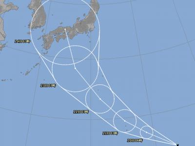 台風20号進路図(8月19日9時)