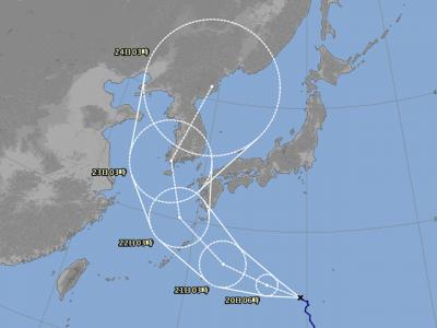 台風19号進路図(8月19日9時)