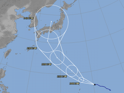 台風20号進路図(8月19日18時)