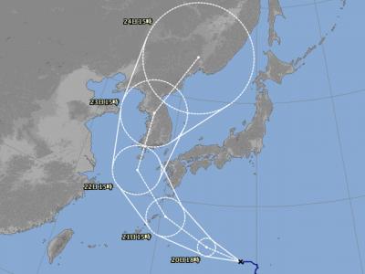 台風19号進路図(8月19日18時)