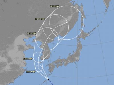 台風19号進路図(8月21日18時)