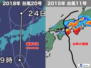 台風20号と2015年台風11号