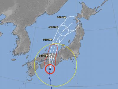 台風20号進路図(8月23日18時)