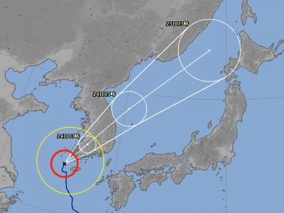 台風19号進路図(8月23日15時)