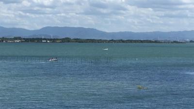 琵琶湖大橋西詰めから眺めた南湖(8月25日13時20分頃)