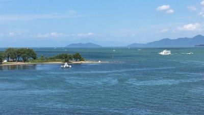 琵琶湖大橋西詰めから眺めた北湖(8月26日13時20分頃)