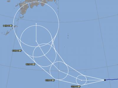 台風21号進路図(8月30日9時)