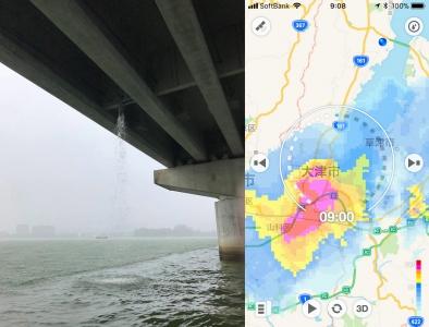 南湖で急な激しい雨(8月31日9時頃)