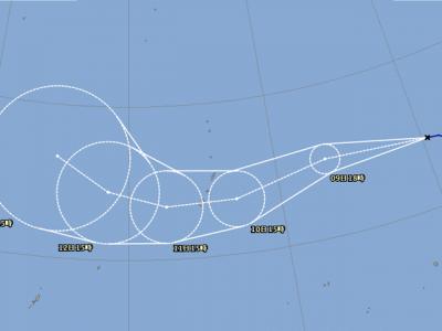 台風22号進路図(9月8日18時)