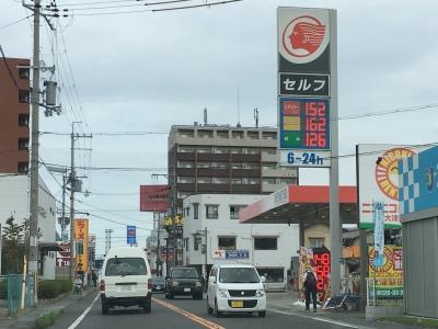 レギュラーガソリン152円/L 西近江路沿い大津市堅田のセルフGSで(18/09/13)