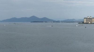 琵琶湖大橋西詰めから眺めた北湖(9月24日15時20分頃)