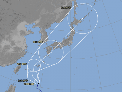 台風24号進路図(9月26日18時)