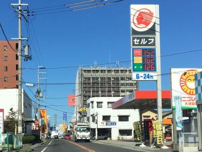 レギュラーガソリン152円/L 西近江路沿い大津市堅田のセルフGSで(18/09/28)