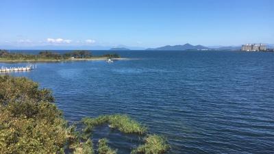 琵琶湖大橋西詰 めから眺めた北湖(9月28日13時30分頃)