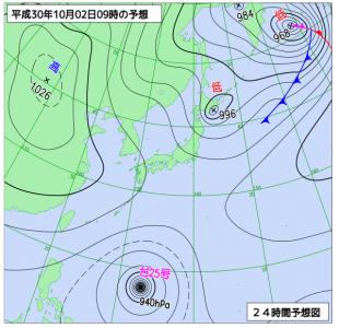 10月2日(火)9時の予想天気図