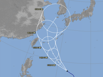 台風25号進路図(10月2日6時)