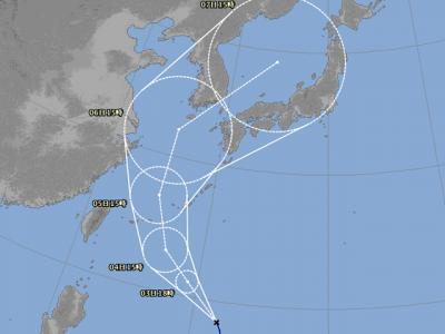 台風25号進路図(10月2日18時)