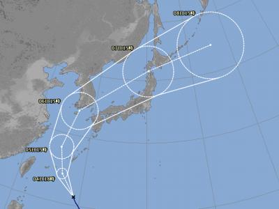 台風25号進路図(10月3日18時)