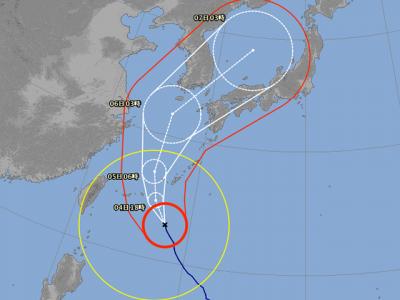 台風25号進路図(10月4日6時)