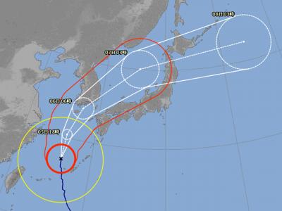 台風25号進路図(10月5日6時)