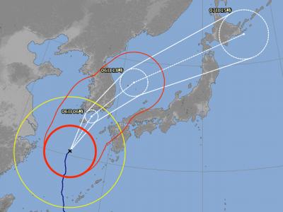 台風25号進路図(10月4日18時)