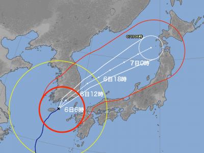 台風25号進路図(10月6日6時)