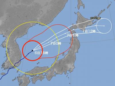 台風25号進路図(10月6日18時)