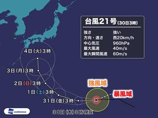 台風21号予想進路