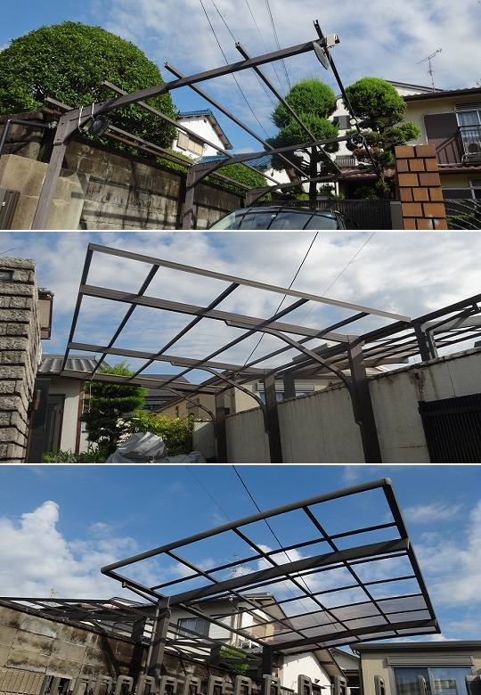 吹き飛ばされたカーポート屋根