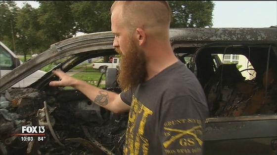 愛車のジープ・グランドチェロキーが全焼してしまったのは、フロリダ州セントピーターズバーグに住むネイサン・ドーナカーさん