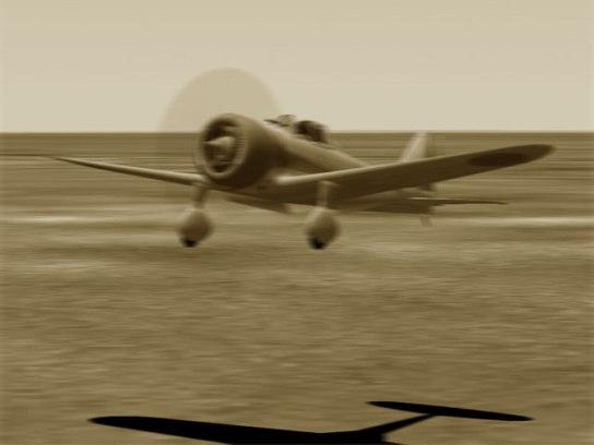 飛行場に着陸する飛行第64戦隊所属の九七式戦闘機 甲。ノモンハンは見渡す限りの草原地帯のため、前線では特に飛行場というものは造成せず、せいぜい背の高い草を刈り込んだ程度の「簡易飛行場」を転々と移動しつつ