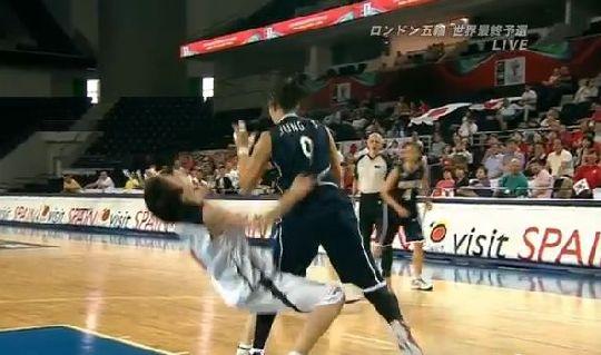 これはひどい 女子バスケ 韓国人選手によるラフプレー