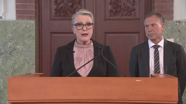 ノーベル平和賞の選考結果を発表するノルウェー・ノーベル委員会のライスアンデシェン委員長=5日、オスロのノーベル研究所