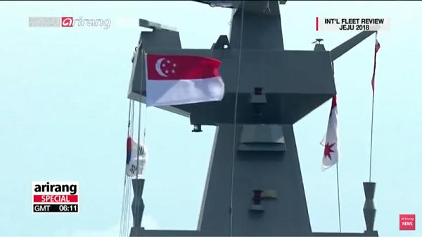 シンガポール:国旗と海軍旗と太極旗