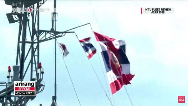 タイ:国旗と海軍旗と太極旗