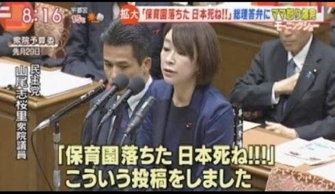 山尾志桜里 「保育園落ちた 日本死ね」 国会で質問