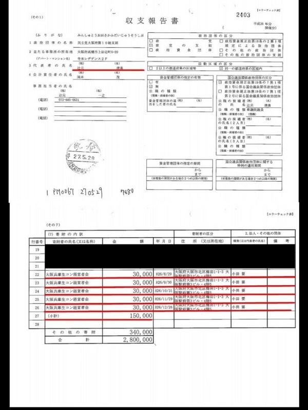 (4)大阪兵庫生コン経営者会から辻元清美に毎月、寄付が行われている。