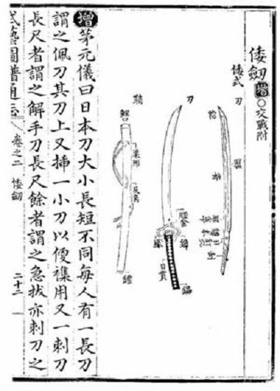 「日本刀はとても強くて鋭い、中国の刀でも太刀打ちできない。」 『武藝圖譜通志』倭劍