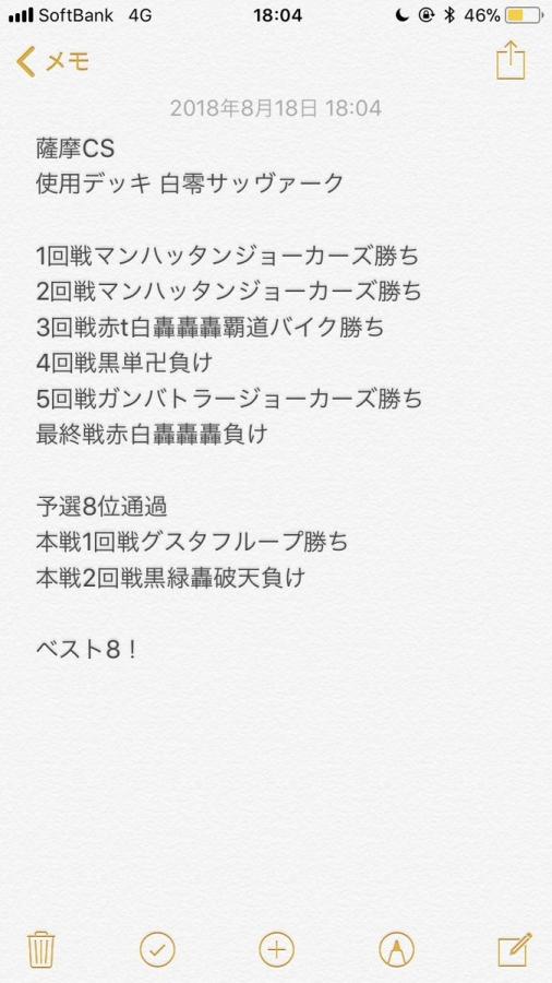 第5回薩摩CS(2ブロック) ベスト8 白零サッヴァーク 蒼依丸さん 戦績