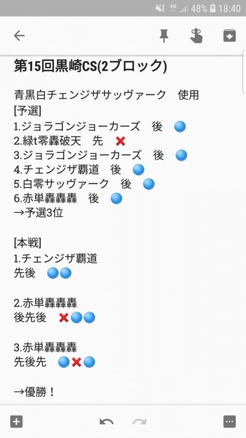 第15回黒崎CS(2ブロック) 優勝 青黒白チェンジザサッヴァーク どっきーさん 戦績