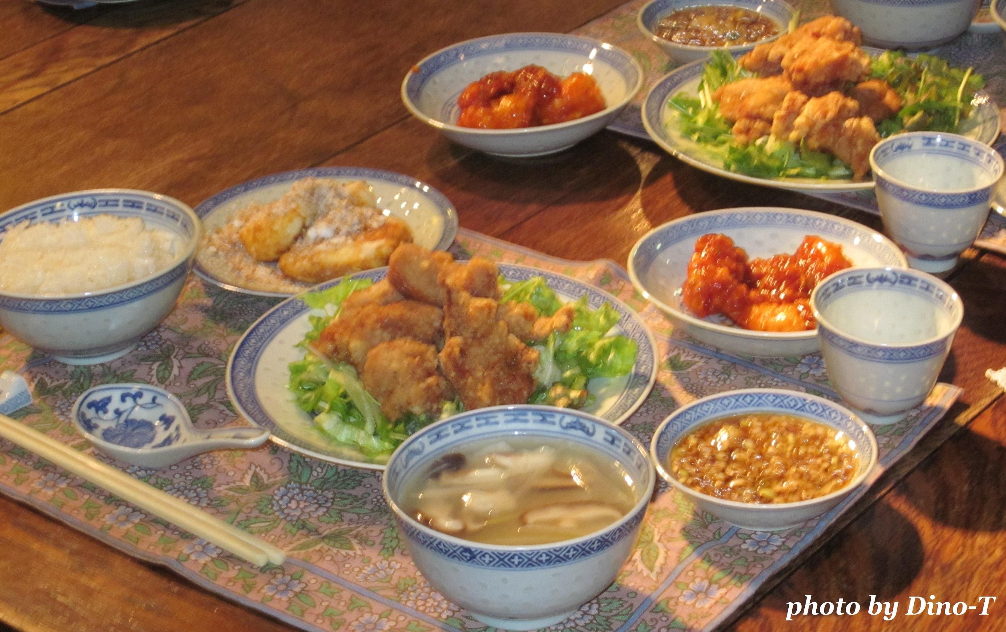 唐揚げの夕食2